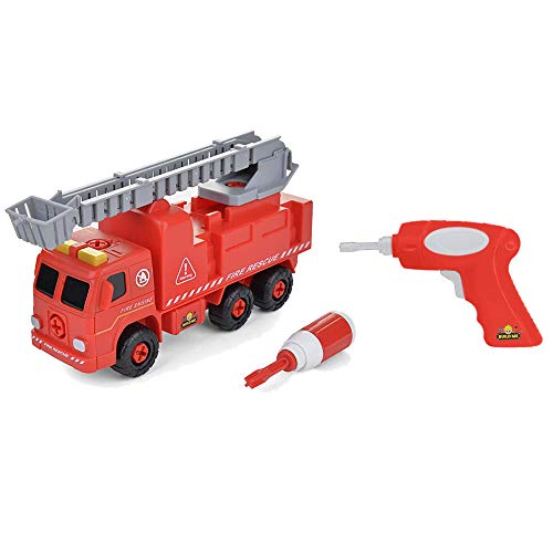 Take Apart Fire Truck with Sounds – Build Your Own Fire Engine Educational STEM Toys for Toddlers - Engineering Building Kit Ages 3-6 – Kids Early Learning Toy Tools, Power Drill, 44 Piece Set