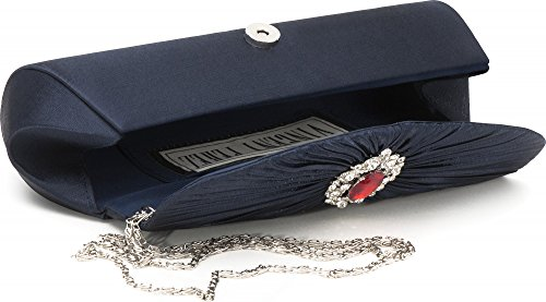 VINCENT PEREZ, Embrague, bolsos de noche, bandolera, bolsos de hombro, bolso bajo brazo de raso con estrases, con cadena desmontable (120 cm), 31x11,5x7,5 cm (AN x AL x pr), color: azul oscuro (Navy) Dunkelblau (Navy)