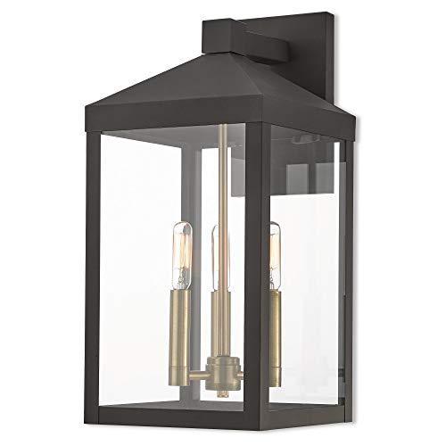 Livex Lighting 20584-07 Nyack 3 Light Outdoor Wall Lantern, Bronze