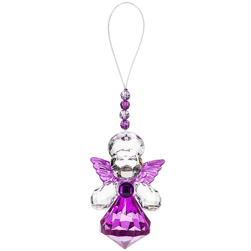 Courage Angel Ornament - Ganz Crystal Expressions 4 Inches Purple Angel Sentiment Acrylic Hanging Ornament Courage
