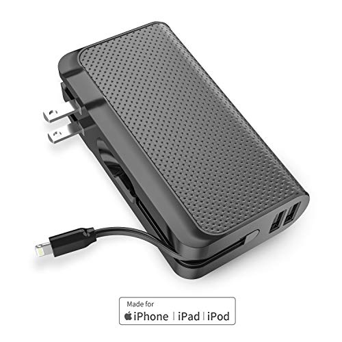Luxtude 3-in-1 Portable Charger for iPhone, iPad, Samsung Galaxy and Android, 9000mAh Apple Certified External Battery Pack, One of the Best Power Bank Designed for Travel (Adapter Converter Optional)