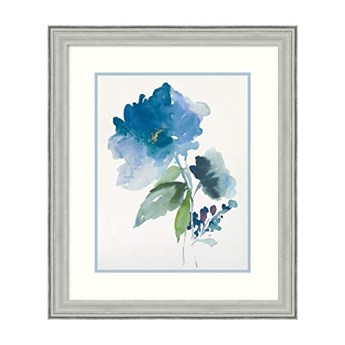 - Amanti Art Blue Flower Garden III by Asia Jensen Framed Art Print, White, Silver