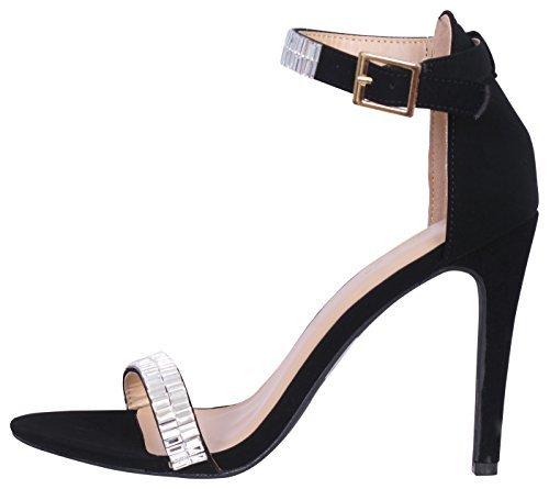 Glaze Women\'s Stiletto Jewel Plated High Heel Ankle Strap Dress Sandals - Open Toe Strappy Heels, Black Nubuck, Size 7'