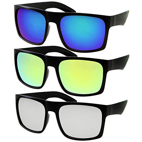 3 Pack XL Men's Big Wide Head Sunglasses | Mirrored Lens | Large Face ()