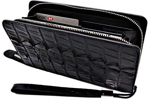 - Samurai JP | Genuine Leather Zipper Wallet for Men (Rich Cowhide Series | Crocodile Embossed) Multi Capacity Clutch with Hand Strap (Standard Edition, Rich Black)