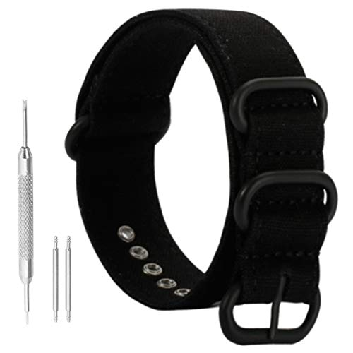 Mens Watch Band Canvas 22mm Canvas Watch Straps Sport Replacement NATO Strap in Black