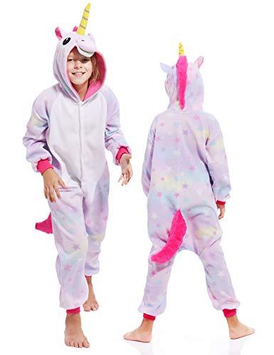 Unisex Stars Unicorn Onesie Kids Children Animals Pajamas Cosplay Christmas Costume(105 for Height 47.2-51.2 inches)