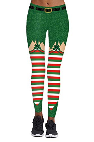 Pink Queen Women's Chic Ugly Santa Christmas Leggings Funny Costume Tights (US S-M, -