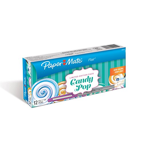 paper-mate-flair-felt-tip-pens-ultra-fine-point-limited-edition-candy-pop-pack-box-of-12-1983361