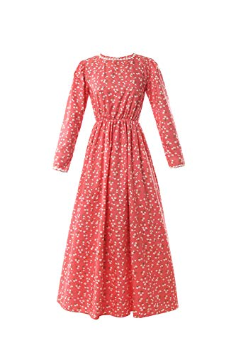 - ROLECOS Pioneer Women Costume Floral Prairie Dress Deluxe Colonial Dress Laura Ingalls Costume (XXL, red)