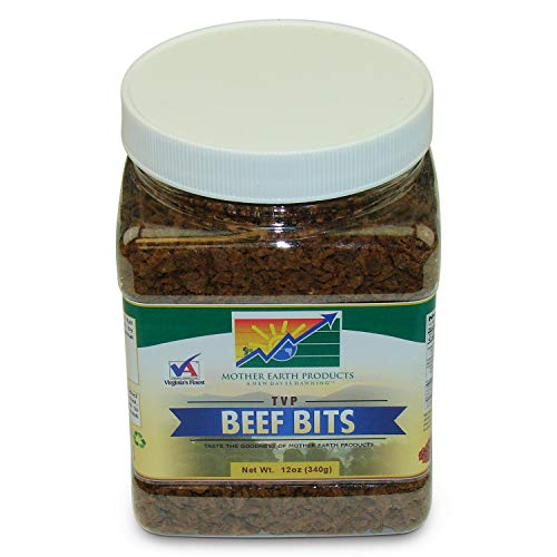 Mother Earth Products Textured Vegetable Protein Beef Bits, Quart Jar, 12 -