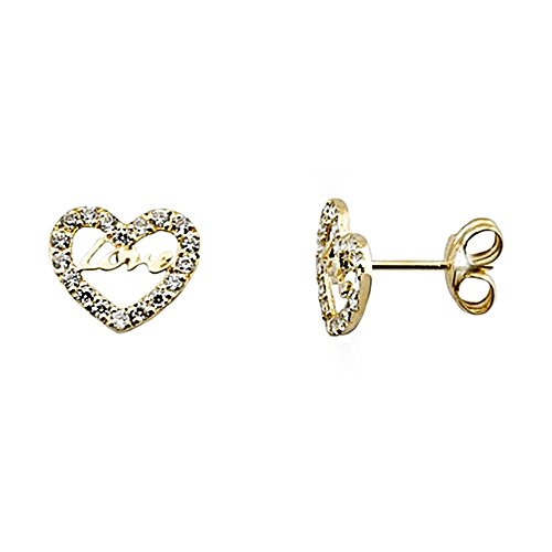 Boucled'oreille 18k or zircons coeur LOVE [AA6406]