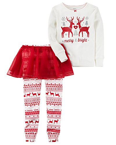 Carter's Girls' 12M-8 3 Piece Reindeer Tutu Pajamas Red 8