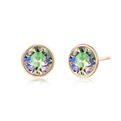 - Crystals from Swarovski, 10MM Round-Cut Crystals Earrings with 14k Gold Plated Post, Hypoallergenic Earrings (Crystal paradise Shine)