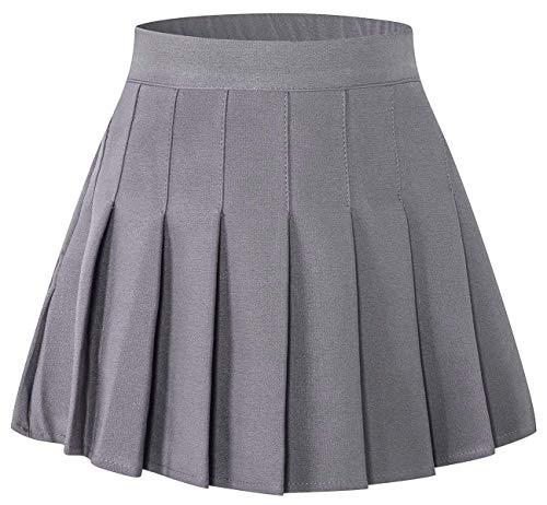 SANGTREE Toddler Little & Big Girls' Solid Plain Pleated School Uniform Short A-Line Skirt, Grey, 4-5 Years/Height 47.2