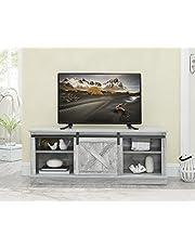 Marabell Home Caro Farmhouse Media TV Console Table/Hallway Storage Cabinet (Stone Grey)