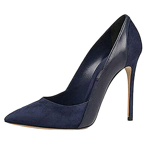Themost Womens Suede Patent Leather Stitching High Heels Closed Pointy Toe Stiletto Pumps Shoes (10, Navy Blue)