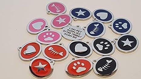 LOKI - Etiqueta de identificación para gato (acero inoxidable, grabada con láser), diseño de estrella: Amazon.es: Productos para mascotas