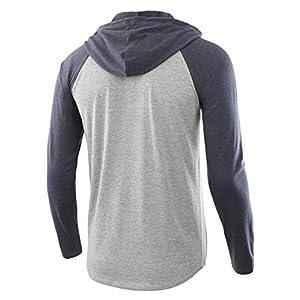 HETHCODE Men's Casual Lightweight Long Sleeve Raglan Henley Jersey Hoodie Shirt