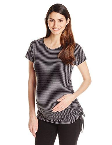 JoJo Maman Bebe Women's Maternity Rouched Top, Black Grey Stripe, Small
