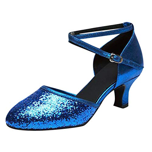 Duseedik Women's Dance Shoes Ballroom Tango Latin Salsa Dancing Low Heel Closed-Toe Ankle Strap Sequins Social Sandals Blue ()