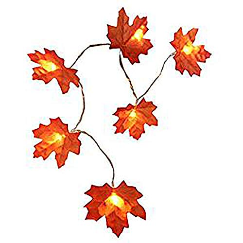 JINLE Maple Leaf String Lights,Lighted Fall Garland 30 LEDs Maple Leaves Fairy Lights for Halloween, Christmas,Thanksgiving and Other Fall Events (9.84ft, Warm White Glow)