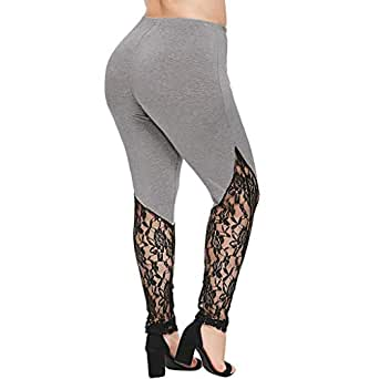 Longra 🌺 💞Yoga Mujeres! Chicas de Encaje Tallas Grandes Pantalones Pitillo Yoga Damas Elegantes Pantalones Deportivos Polainas Pantalones