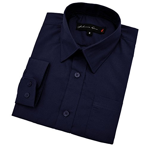 Little Boy's Long Sleeves Solid Dress Shirt #JL32 (2T, Navy)