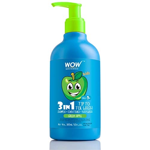 WOW Skin Science Kids Tip to Toe Wash - Shampoo - Conditioner - Body Wash - Green Apple - 300 mL (Best Smelling Shampoo India)