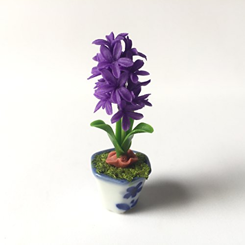 Hyacinth (Purple) Flower Handmade Miniature Clay Collectible Crafts Dollhouse Garden Farm (Christmas Belmont Farm Tree)