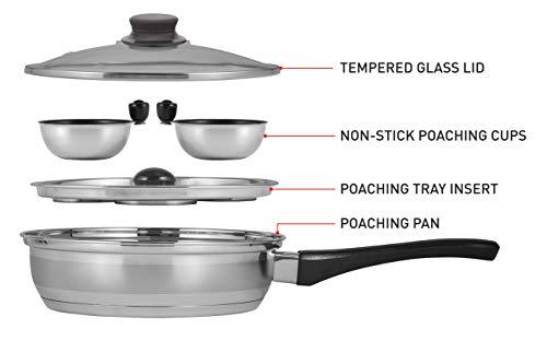 Eggssentials - Nonstick Poaching Cups Stainless Steel FDA Safe PFOA With Bonus Spatula