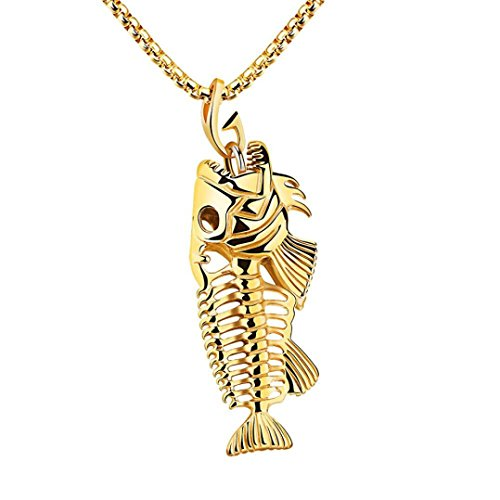 - iLH Deals Unisex Hip Hop Men Fish Bone & Fishing Hook Skeleton Stainless Steel Pendant Surfer Chain Necklace by ZYooh (Gold)