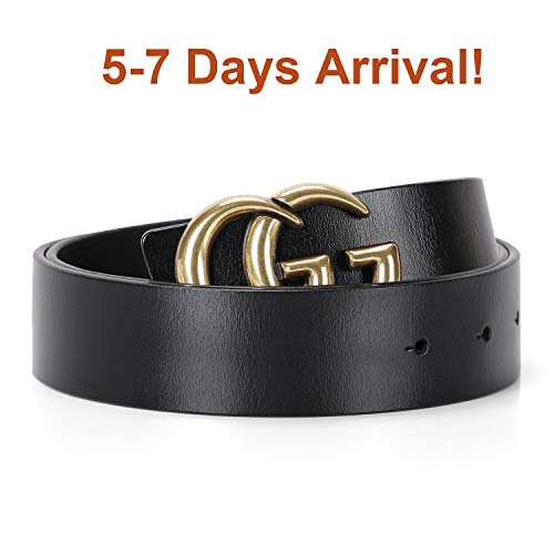 Womens Leather Belts Vintage Casual Retro Women Belt For Jeans Shorts Pants Dresses 1.25″ Wide With Gold Buckle Black