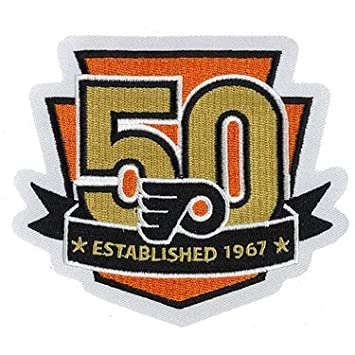 info for 53bc7 1f6c7 2017 NHL Philadelphia Flyers 50th Anniversary Official Hockey Game Jersey  Patch