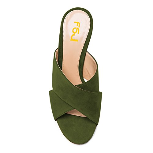 Cm Suede Faux 15 US Size Chunky Women Olive Platform Shoes Comfort Casual Green 12 Open 4 Toe FSJ Heel Sandals Mules tERSwEq
