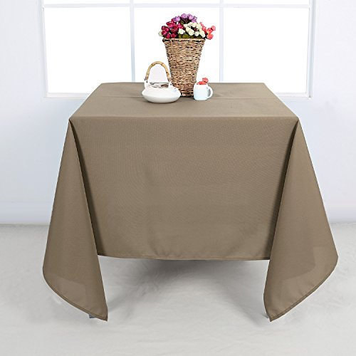 Deconovo Solid Oxford Smooth Square Wrinkle Resistant Tablecloth For Card Table 60 by 60 Inch Light Khaki