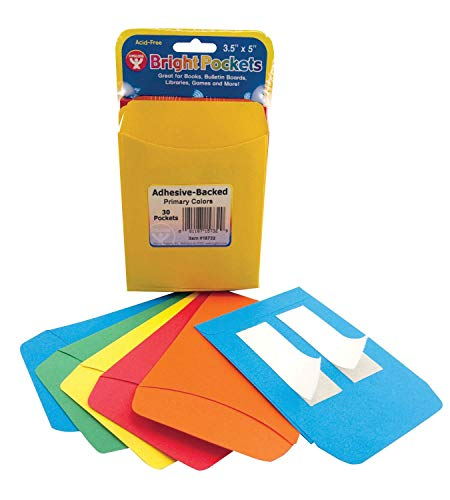 Hygloss Self-Adhesive Library Pockets, Assorted Primary Colors, 3 x 5 Inch, Pack of 30 - 1466248 -
