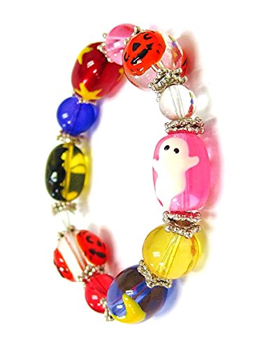 Shape Stretch Bracelet - Linpeng 11 by 13mm Oval/8 to 14mm Round Hand Painted Glass Beads Spooky Halloween Stretch Bracelet