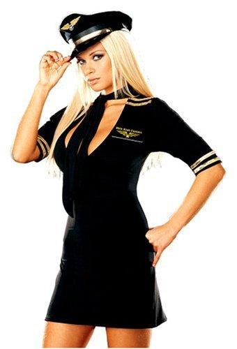 Dreamgirl Women's Air Pilot Costume,Gold/Black, Large - Air Pilot Costumes