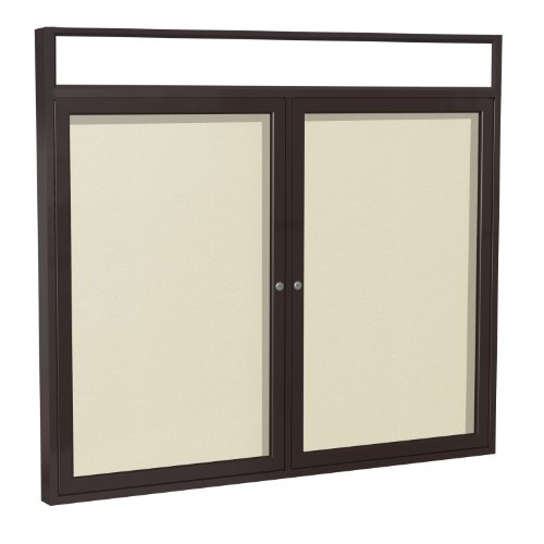 Headliner Cork Bulletin Board - Ghent 4 x 5 Inches Outdoor Bronze Frame Enclosed Vinyl Bulletin Board with Headliner , Ivory , Made in the USA
