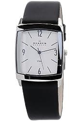 Skagen Men's 691LSLS Black Leather Band Stainless Steel Watch