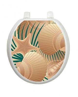 Toilet Tattoos ''At the Beach'' (Sea Shells) TT-1600-R Seat Applique Toilet Cover by Toilet Tattoos