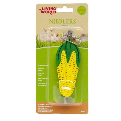 Living World LW Nibblers Wood Corn Cob on A Stick Small Pet Chew Toy [Set of 3]