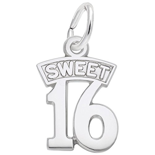 Sweet 16 Charm In Sterling Silver, Charms for Bracelets and Necklaces (Charm Sweet Silver Sterling 16)