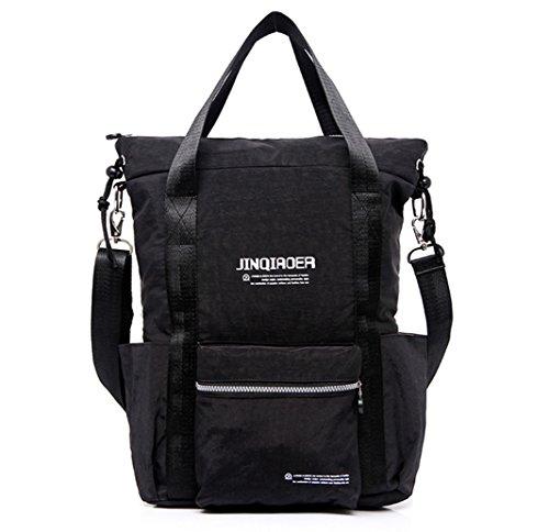 Tiny Chou Women's Big Capacity Waterproof Nylon Travel Backpack Light Shoulder Bag Crossbody Bag Black by Tiny Chou