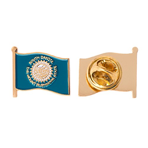 South Dakota SD State Flag Lapel Pin Enamel Made of Metal Souvenir Hat Men Women Patriotic South Dakotan (Waving Flag Lapel Pin)