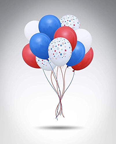 100 Premium Quality Balloons: white blue red and star latex balloons birthday party decoration and events! ()