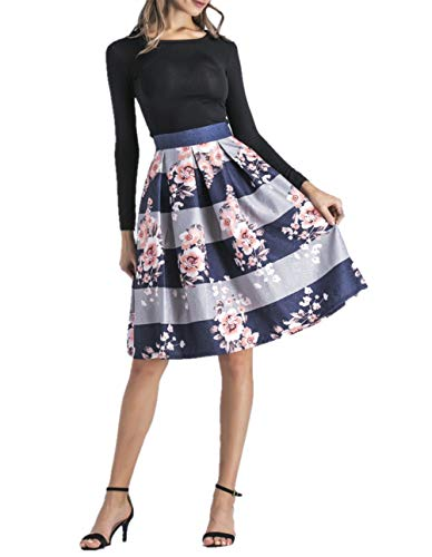 Hanlolo-Womens-Floral-Midi-Skirts-High-Waisted-A-Line-Cocktail-Party-Prom-Skirt