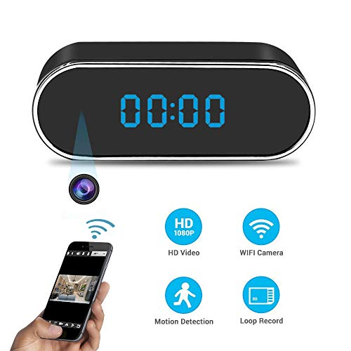 Spy Camera LXMIMI Hidden Camera in Clock WiFi Hidden Cameras 1080P Video Recorder Wireless IP Camera for Home Security Monitoring Nanny Cam 140Angle Night Vision and Motion Detection