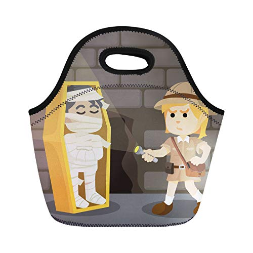 Semtomn Lunch Bags Egypt White Explore Woman Explorer Finds Mummy in Catacomb Neoprene Lunch Bag Lunchbox Tote Bag Portable Picnic Bag Cooler Bag ()